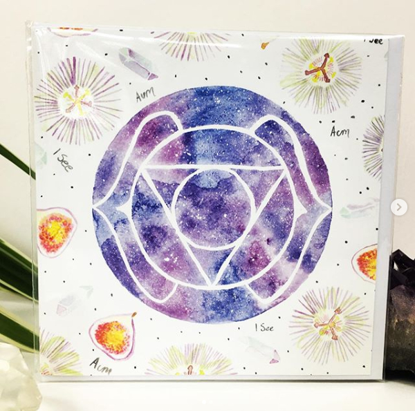 Ajna Third Eye Chakra Art Card by Origins Wellbeing Cornwall