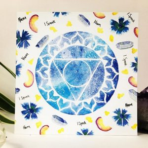 Vissudha Throat Chakra Art Card by Origins Wellbeing Cornwall